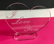 "Clear Acrylic/Lucite Laser engraved "" I Love You"" Heart"